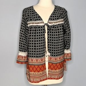 Xhiliration Aztec Kimono Open Cardigan